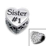 Silver Heart Sister Jewelled Bead Charm with Crystal