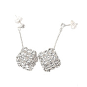 Spinningdaisy Abstract Series Crystal Dangling Cube Earrings