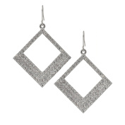 Spinningdaisy Abstract Series Crystal Open Square Dangle Earrings
