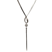 Spinningdaisy Crystal Ball with Tassel End Statement Necklace