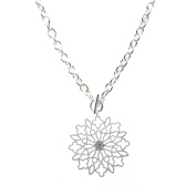 Spinningdaisy Crystal Abstract Flower Toggle Necklace
