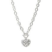 Spinningdaisy Crystal Breathing Heart Toggle Necklace