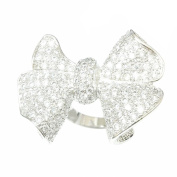 Brass Pavé Clear Cubic Zirconia Bowtie Ring