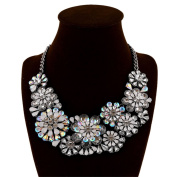 Fashion Vintage Style Colourful Acrylic Crystal Flower Necklace Collar Bib for Women