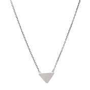 Spinningdaisy Sterling Silver Brush Metal Geometric Triangle Necklace