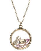 Pink Ribbon & Strength Floating Charm Locket Necklace