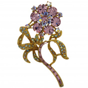 Complementary Flower Brooch with Dazzling Crystals