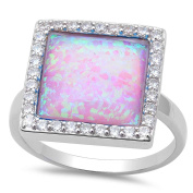 New! Pink Fire Opal & Cubic Zirconia .925 Sterling Silver Ring Sizes 6-8