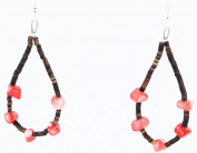 $90 Retail Tag Authentic Made by Charlene Little Navajo .925 Sterling Silver Hooks Natural CORAL LOOP HEISHI Native American Earrings