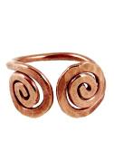 Elaments Design Solid Copper Ring Reverse Spirals Design Size 11 Hand Hammered