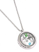 Auralee & Company Silver Tone Faith Cross Round Floating Charms Locket Necklace