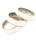 .  Oatmeal Cream Enamel Bangle Bracelet Set 3 Piece