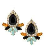 Rhinestone Black Teardrop Light Blue Gold Fan Post Earrings