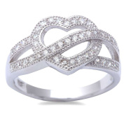 New Micro Pave Cubic Zirconia Heart .925 Sterling Silver Ring Sizes 5-9