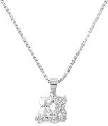 Beautiful Silver Plated Necklace and Pendant with Sitting Cats-46cm