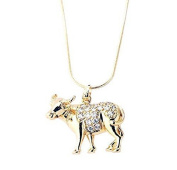New Imitation Gold Plated White Austrian Crystals Cow Pendant With Gold Chain