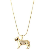 New Imitation Gold Plated White Austrian Crystals Dog Pendant with Gold Plated Chain