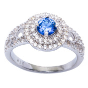 Halo Style Simulated Blue Sapphire & Cubic Zirconia High Fashion .925 Sterling Silver Ring Sizes 6-9