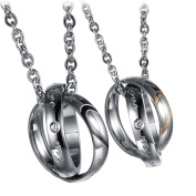 """Moandy Jewellery Steel Lover's Fashion Necklace """"Real Love""""""""my Only Love"""" Heart Rings Pendant"""