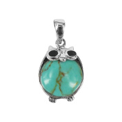 Chubby Night Owls Reconstructed Turquoise .925 Silver Pendant