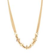 Spinningdaisy High Polished Gold Plated Sliding Tube Statement Necklace
