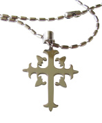 Stainless Steel Fleur De Lis Cross with Stainless Steel Barrel Bead Necklace