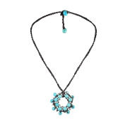 Moon Cluster Reconstructed Turquoise-Silver Beads Accents Cotton Rope Necklace