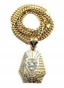 "New Iced Out KING TUT Pendant 6mm & 36"" Cuban Link Chain Hip Hop Necklace XK1G"