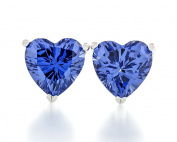 Acacia Jewellery 2.00 Carat (ctw) Heart Shape Fancy Diamond Cut Tanzanite Colour 6.5x6.5mm Crystal CZ 925 Sterling Silver Heavy Mounting Stud Earrings Rhodium Plated