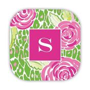 Chatsworth Mia Pink Hard Back Coasters with Single Initial, J, Multicoloured