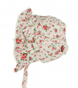 Baby Girls Soft Cotton Floral Rose Bonnet Sun hat Tie Ups 0-6 months
