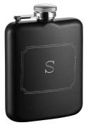 Visol Products Podova Flask with Engraved Initial, 180ml, Letter S, Matte Black