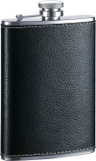 Visol Max Leather Premium Quality Liquor Flask, 240ml, Black