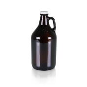 Picnic Time Amber Glass Growler Jug with Handle and Steel Twist Off Lid, 1890ml