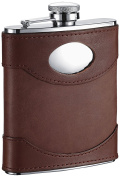 "Visol ""Armstrong"" Leather Stainless Steel Hip Flask, 180ml, Brown"