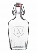 Lillian Rose Glass Monogram N Flask, 23cm x 17cm x 7cm , Clear