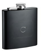 Visol Products Raven Personalised Flask with Initial Engraved, 180ml, Letter C, Matte Black