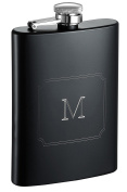Visol Products Raven Personalised Flask with Initial Engraved, 270ml, Letter M, Matte Black