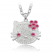 Pink Clear Crystal Large Hello Kitty Cat Pendant 60cm Long Necklace Made With Elements