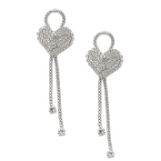 Spinningdaisy FA Series Silver Plated Crystal Heart with Loose Chain Earrings