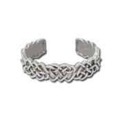 Mystica Collection Pewter Celtic Hearts Cuff Bracelet with Green Stones