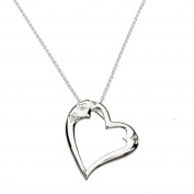 Round Cubic Zirconia Heart Sterling Silver Pendant Cable Chain Necklace 46cm