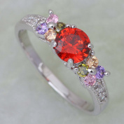 SKCUTE Red colourful cubic zirconia jewellery Silver platinum plated ring