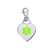 Divoti Custom Engraved Adorable 316L Medical Alert ID Heart Charm w/ Lobster Clasp