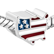 LovelyCharms 925 Sterling Silver Independence Day America Usa Flag European Beads Fit Pandora Charm Bracelets