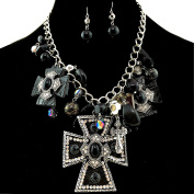 Western Peak Western Large Cross Pendant with Charms Necklace with Pearl Earrings