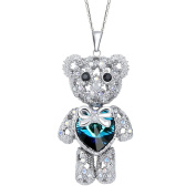 EleQueen Women's Silver-tone Love Heart Bear Pendant Necklace Adorned with ® Crystals