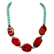 005 Ny6design Magnesite Turquoise, Onyx & Coral Beads Long Necklace w/Silver Plated Clasp N16082604d