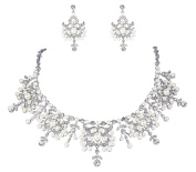 Janefashionsfloral Floral Pearl Austrian Crystal Necklace Earrings Set Bridal Wedding N12126-silver