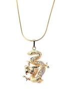 New Imitation Gold Plated White Austrian Crystals Dragon Pendant with Gold Plated Chain